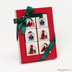 Estuche rojo de 6 napolitanas Perritos navideños*