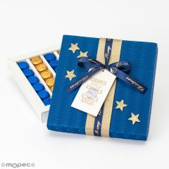 Blue box with 30 chocolates Familia Amigos Navidad available in multiple languages