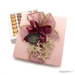 Scatola rosa pallido 30 cioccolatini Natale