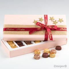 Scatola rettangolare rosa con 21 cioccolatini
