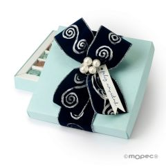 Blue square box with card and 30 chocolates