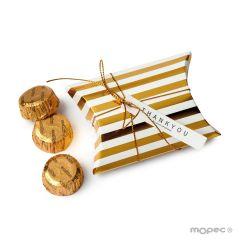 Boîte 3 chocolats rayés 9,3x6,5x2,5cm. en or ou en argent