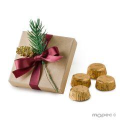 Estuche kraft con 4 torinos adornado piña y abeto navideño*