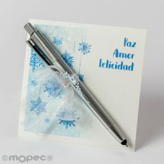 Pen with stars, light and pointer on Christmas card