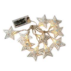 Guirnalda de estrellas metálicas leds 160cm.,pilas incluidas