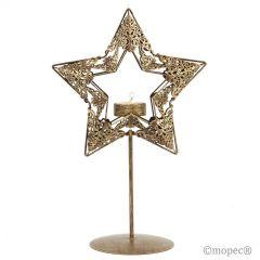 Portavela metálico estrella dorada con vela 30cm.