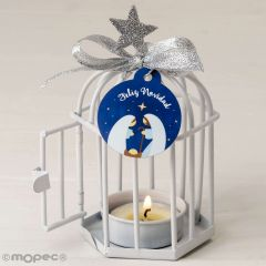Metal candle holder Ø7x10cm,candle,card  M.Christmas S.PRICE
