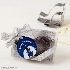 Moldes cortador de galletas adornados con tarjeta navideña