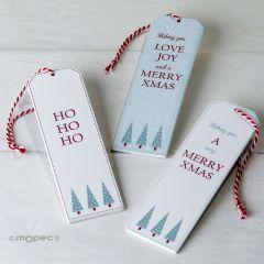 Punto de libro/colgante navideño de madera  3,8x12cm. 3stdo