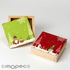 Wooden box with magnetized lid assort. green/red, 10cm.min.2