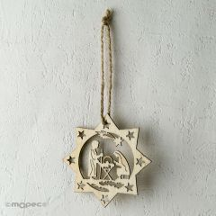 Wooden hanging Nativity 8,5x8,5cm.