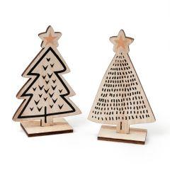 Albero di Natale in legno 9x14,5cm. 2 assort.