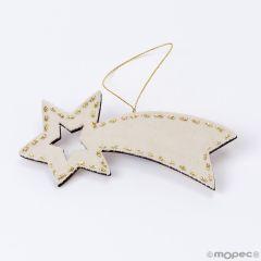 Wooden and ivory velvet star pendant 13x6cm.