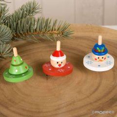 Wooden Christmas spinning top asstd.