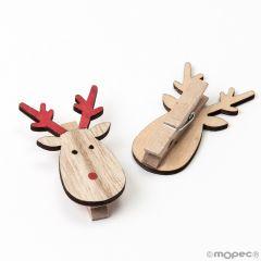 Wooden reindeer clothes peg 3,5x5,5cm.