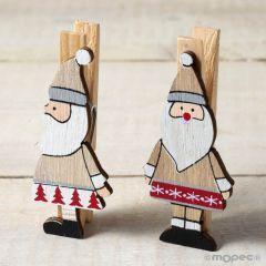 Pinza de madera Papa Noel rústico 2stdo. 3x7cm min.6