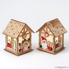 Christmas wooden house with LED 2assorted 9x12x10cm.