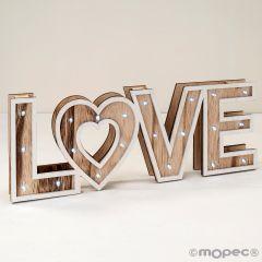 Decoración madera 40x14,5x4cm. LOVE con luz led