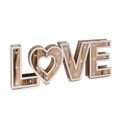 Wooden sign 40cm. LOVE with led light