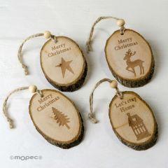 Colgantes navideños discos de madera 4mod.17cm.prox, min.4
