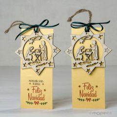 P.libro/colgante de madera pesebre Feliz Navidad