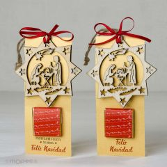 Punto de libro y colgante navideño de madera con 1 napolitana