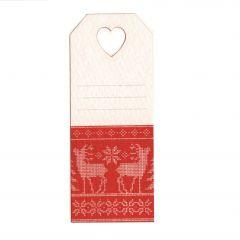 Tarjeta agu.corazón y tejido Renos,3x7cm (preciox24u) min.24
