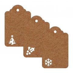 Carte cadeau marron perforé 4x6cm (prix x21pc.)