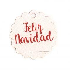 Tarjeta ondulada Feliz Navidad  4cm (preciox28u) min.28. Disponible en varios idiomas