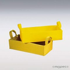 Cesta rectangular fieltro amarilla asas 30,5x12,7x14cm
