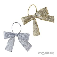 Lame bows in gold and silver colors 15mm + elastic, 24pcs.