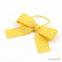 Lazo amarillo topos blanco+ cordón elástico 15mm, 24pcs.