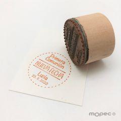 Tampon personnalisé ronde ruban Nueva Fecha Comunion Ø3,5cm