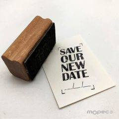 Sello rectangular Save Our New Date 3x5,5 cm.