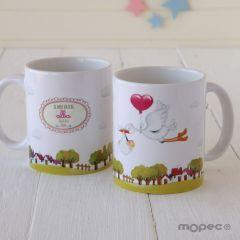 Taza cerámica Pit & Pita cigueña niña en caja regalo CAT