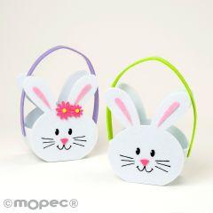 Felt rabbit basket  green/lilac 14x20cm (incl.handle)