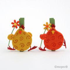 Felt/wood chick clip orange/yellow 7cm assort.