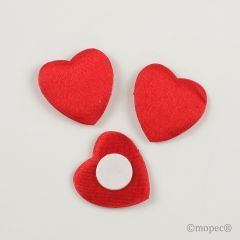Corazón 2,5cm. raso rojo con adhesivo, caja de 144pc.