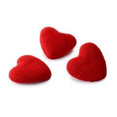 Adhesivo corazón de tela rojo  2,7cm., min.12