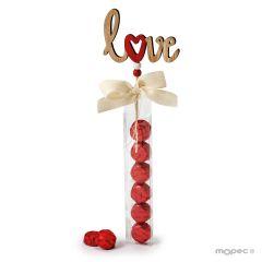 Pic de madera con 6 bombones Love, 30cm.*