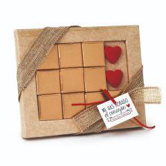 Boîte 10 chocolats coeurs Saint Valentin avec carte
