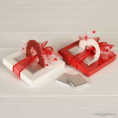 Boîte 2 chocolats coeur rouge/blanc Saint Valentine
