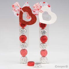 Boîte 6 chocolats coeur rouge/blanc Saint Valentine assort.