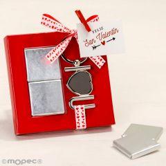 Llavero metálico I Love U con 2nap. y tarjeta incluida