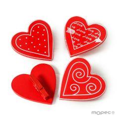 Pinza madera corazón rojo S.Valentín, 3stdo., min.9