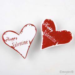 Pegatina madera corazón 3,5cm rojo/blanco, precio x caja16u.