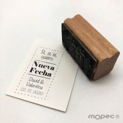Personalized wedding  stamp  save the new date in Spanish 3x5,5cm.