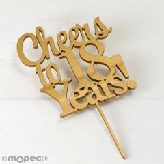 Cake topper Cheers to 18 years en color dorado 20cm.