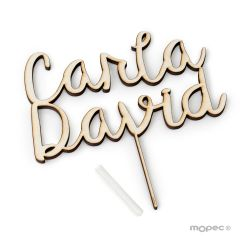 Cake topper wooden 2 names 18cm. aprox.