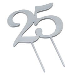 Cake topper 25 in silver color 17cm.